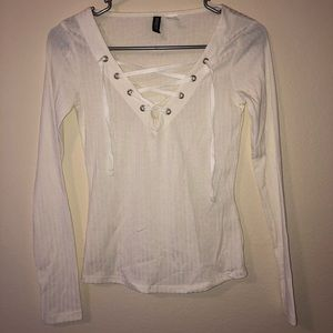 Tops - White Lace Up Long Sleeve Shirt